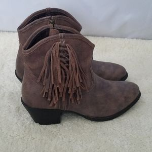 Ariat Brown Duchess Fringed Western Ankle Boots